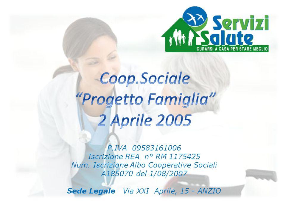 SERVIZI SALUTE è il marchio della Cooperativa Sociale Progetto Famiglia 2 Aprile 2005 Progetto Famiglia è stata costituita in Anzio nel Luglio del 2007 con lobiettivo di svolgere prevalentemente prestazioni socio assistenziali a domicilio