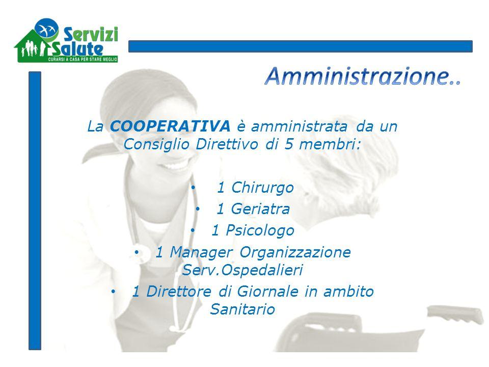 La COOPERATIVA è amministrata da un Consiglio Direttivo di 5 membri: 1 Chirurgo 1 Geriatra 1 Psicologo 1 Manager Organizzazione Serv.Ospedalieri 1 Dir