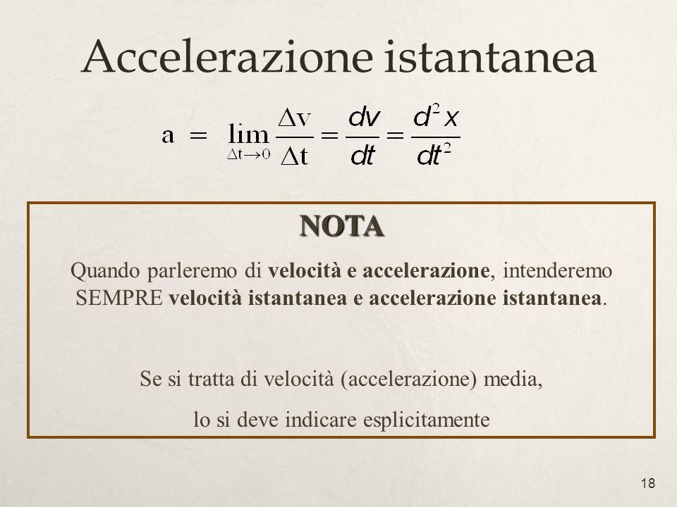 18 Accelerazione istantanea NOTA Quando parleremo di velocità e accelerazione, intenderemo SEMPRE velocità istantanea e accelerazione istantanea. Se s