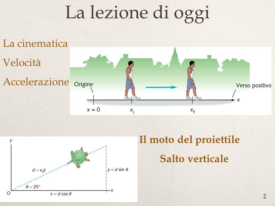 2 La cinematica Velocità Accelerazione Il moto del proiettile Salto verticale La lezione di oggi