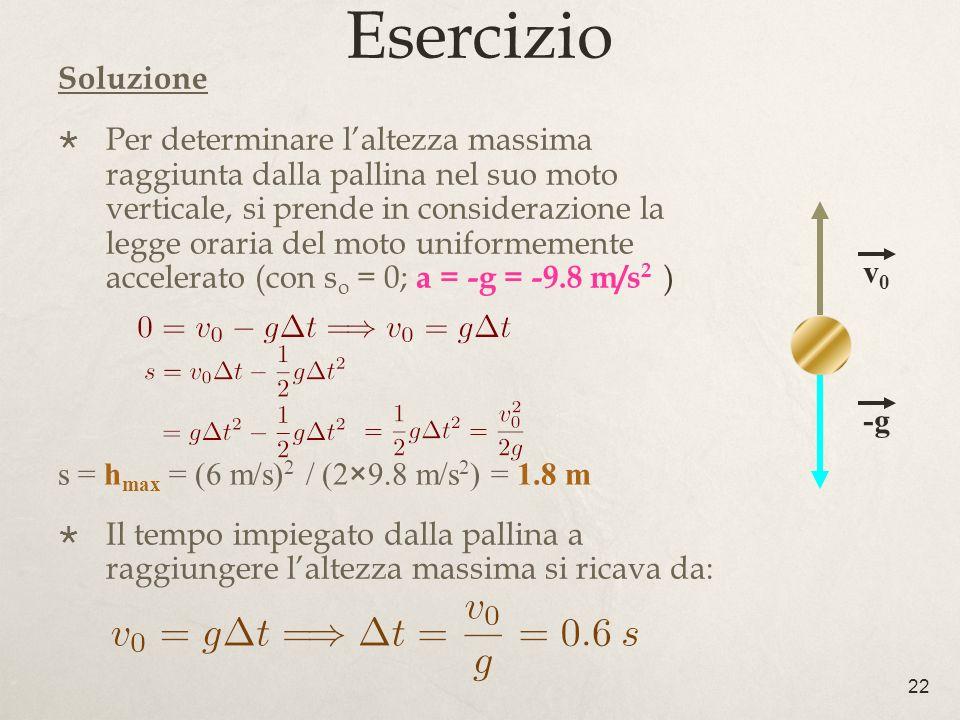 22 Esercizio Soluzione Per determinare laltezza massima raggiunta dalla pallina nel suo moto verticale, si prende in considerazione la legge oraria de