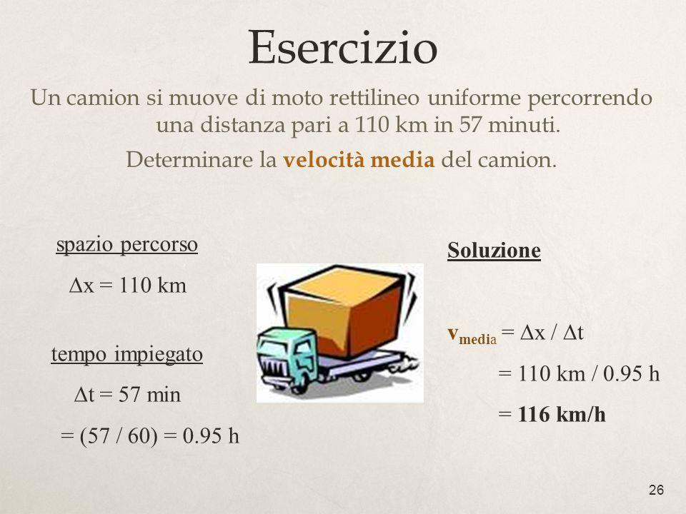 26 Esercizio Un camion si muove di moto rettilineo uniforme percorrendo una distanza pari a 110 km in 57 minuti. Determinare la velocità media del cam