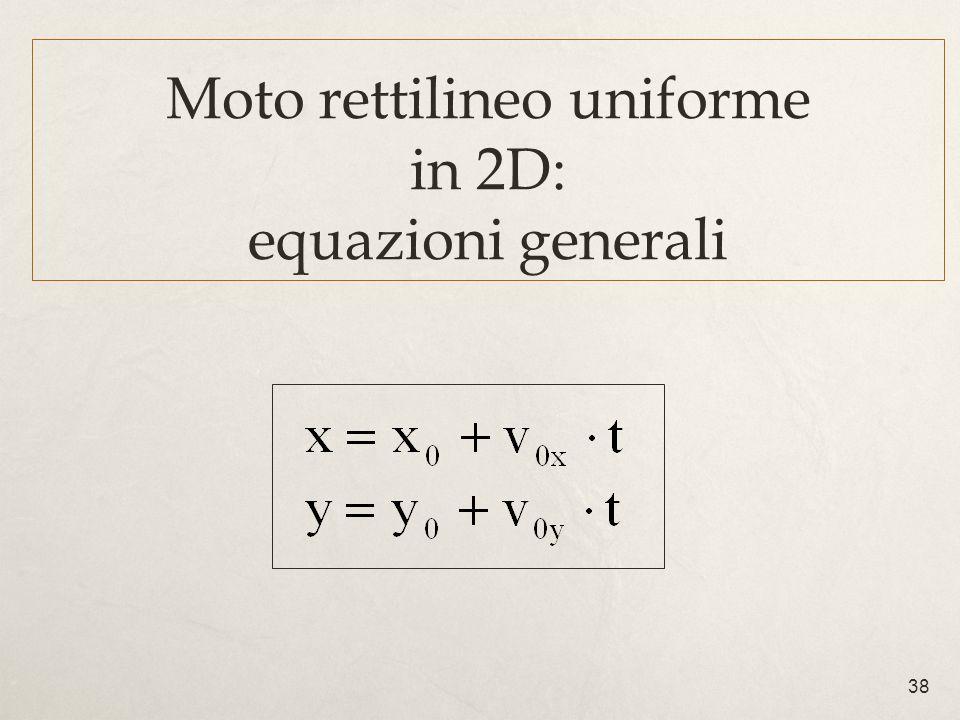 38 Moto rettilineo uniforme in 2D: equazioni generali