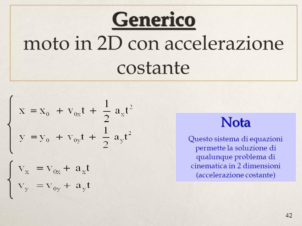 42 Generico Generico moto in 2D con accelerazione costante Nota Questo sistema di equazioni permette la soluzione di qualunque problema di cinematica