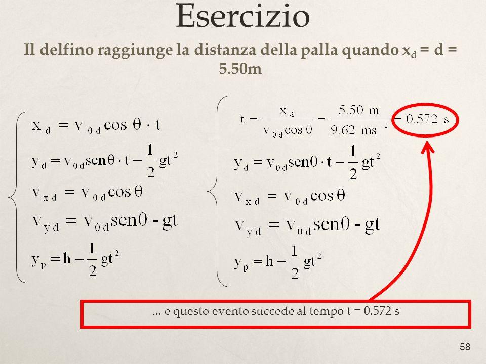 58 Esercizio Il delfino raggiunge la distanza della palla quando x d = d = 5.50m... e questo evento succede al tempo t = 0.572 s