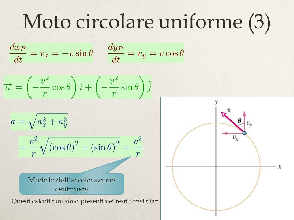 63 Moto circolare uniforme (3) Modulo dellaccelerazione centripeta Questi calcoli non sono presenti nei testi consigliati