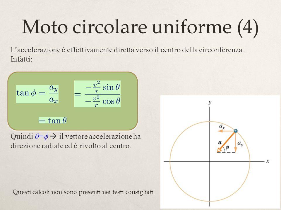 64 Moto circolare uniforme (4) Laccelerazione è effettivamente diretta verso il centro della circonferenza. Infatti: Quindi = il vettore accelerazione