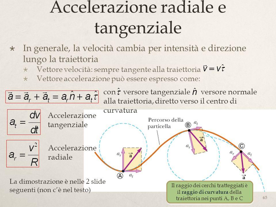 Accelerazione radiale e tangenziale In generale, la velocità cambia per intensità e direzione lungo la traiettoria Vettore velocità: sempre tangente a