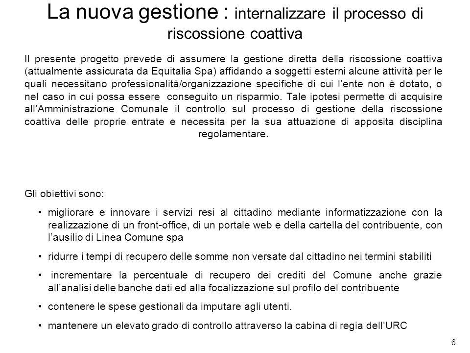 6 Il presente progetto prevede di assumere la gestione diretta della riscossione coattiva (attualmente assicurata da Equitalia Spa) affidando a sogget