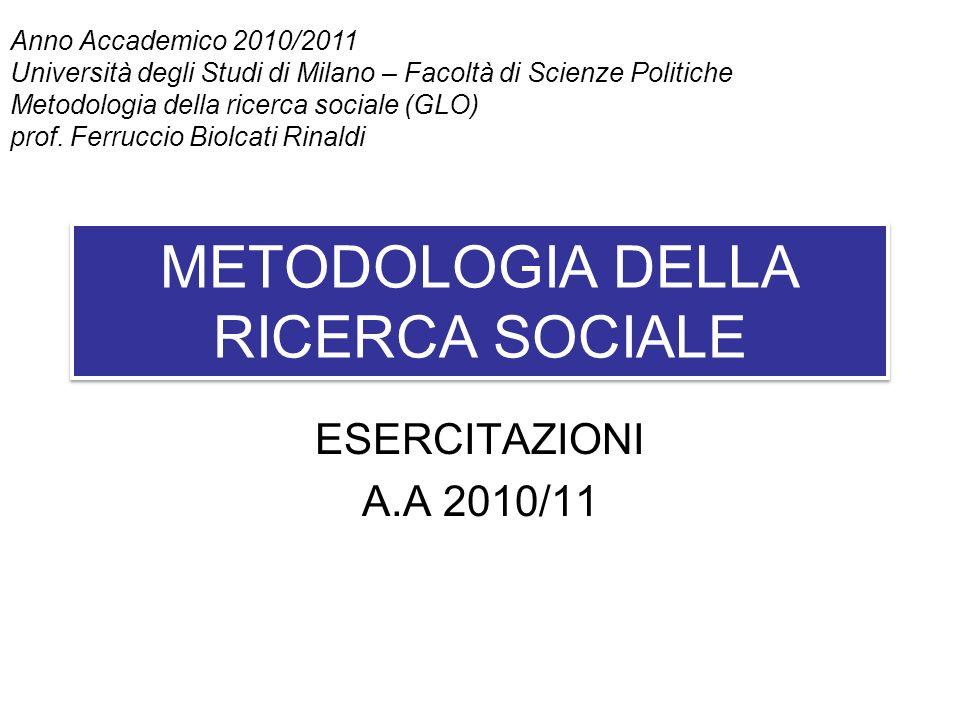 METODOLOGIA DELLA RICERCA SOCIALE ESERCITAZIONI A.A 2010/11 Anno Accademico 2010/2011 Università degli Studi di Milano – Facoltà di Scienze Politiche