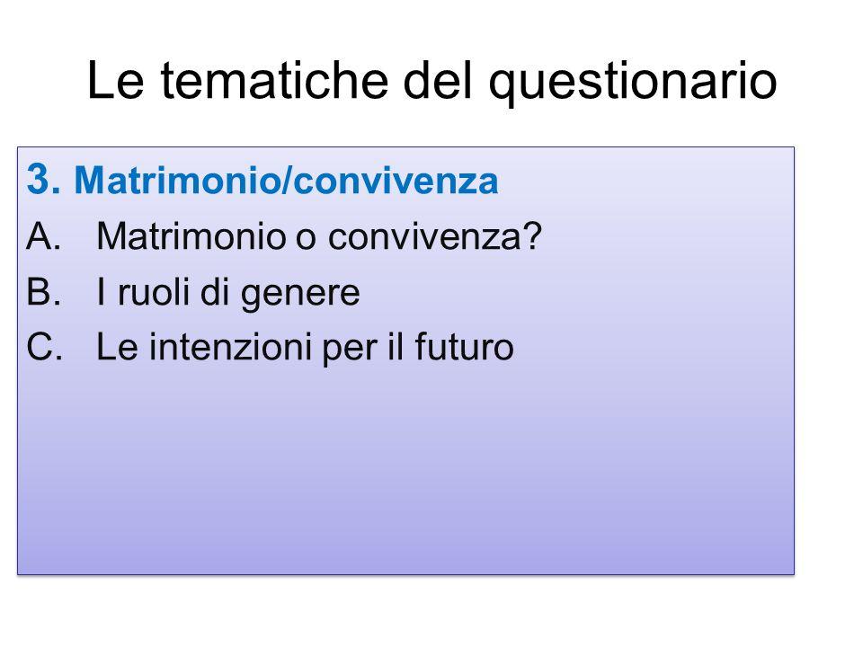 3. Matrimonio/convivenza A.Matrimonio o convivenza? B.I ruoli di genere C.Le intenzioni per il futuro 3. Matrimonio/convivenza A.Matrimonio o conviven