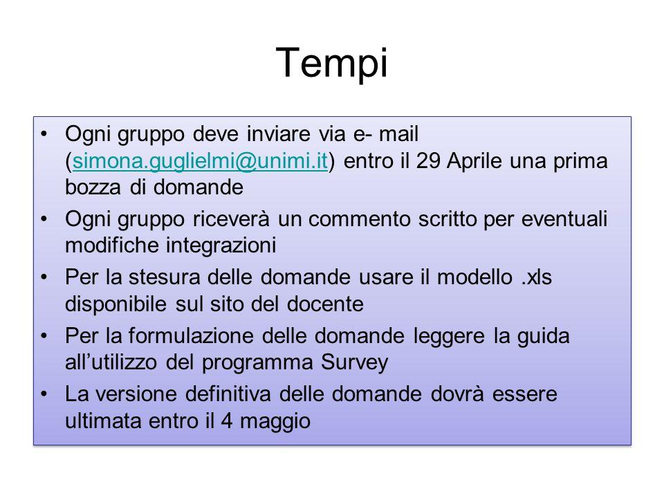 Tempi Ogni gruppo deve inviare via e- mail (simona.guglielmi@unimi.it) entro il 29 Aprile una prima bozza di domandesimona.guglielmi@unimi.it Ogni gru