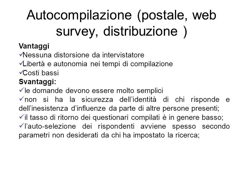 Autocompilazione (postale, web survey, distribuzione ) Vantaggi Nessuna distorsione da intervistatore Libertà e autonomia nei tempi di compilazione Co