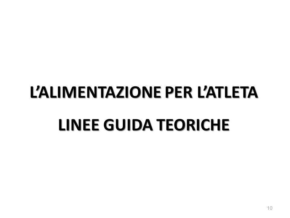 10 LALIMENTAZIONE PER LATLETA LINEE GUIDA TEORICHE