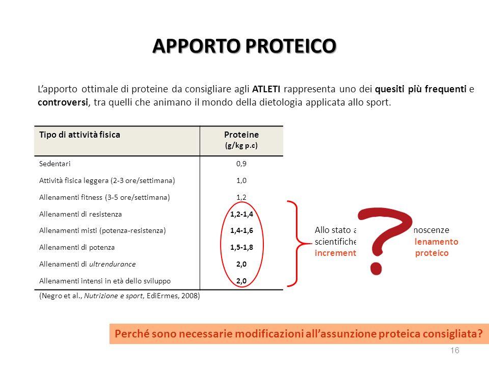 16 APPORTO PROTEICO Lapporto ottimale di proteine da consigliare agli ATLETI rappresenta uno dei quesiti più frequenti e controversi, tra quelli che a