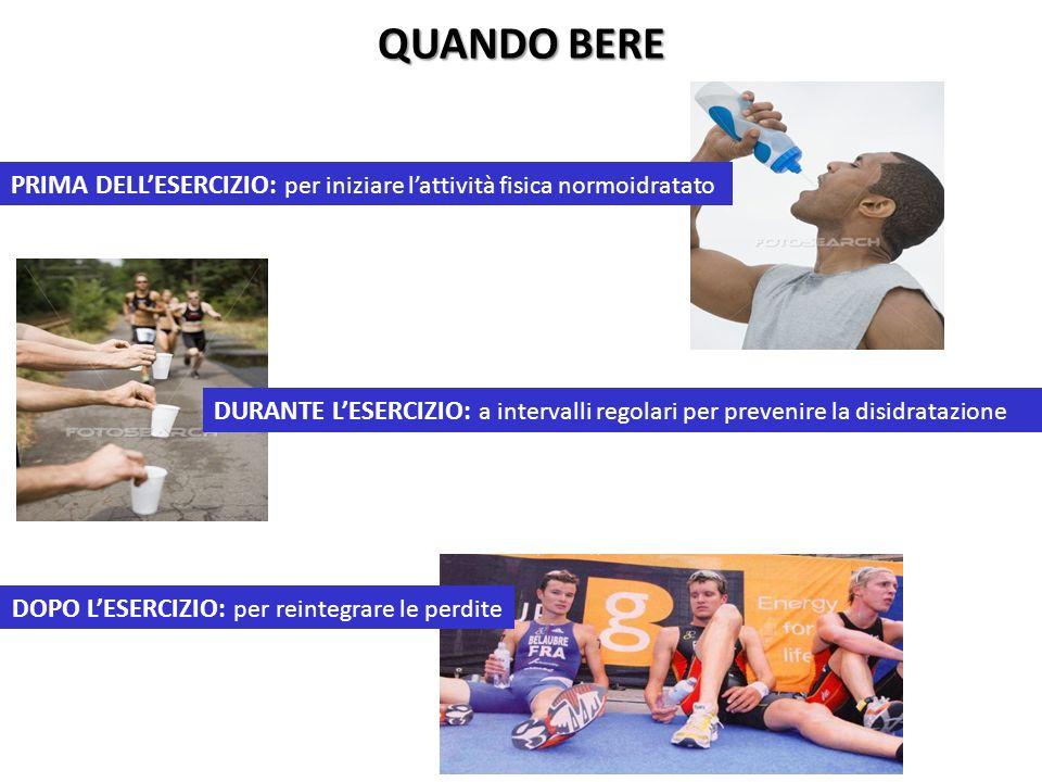 QUANDO BERE PRIMA DELLESERCIZIO: per iniziare lattività fisica normoidratato DURANTE LESERCIZIO: a intervalli regolari per prevenire la disidratazione