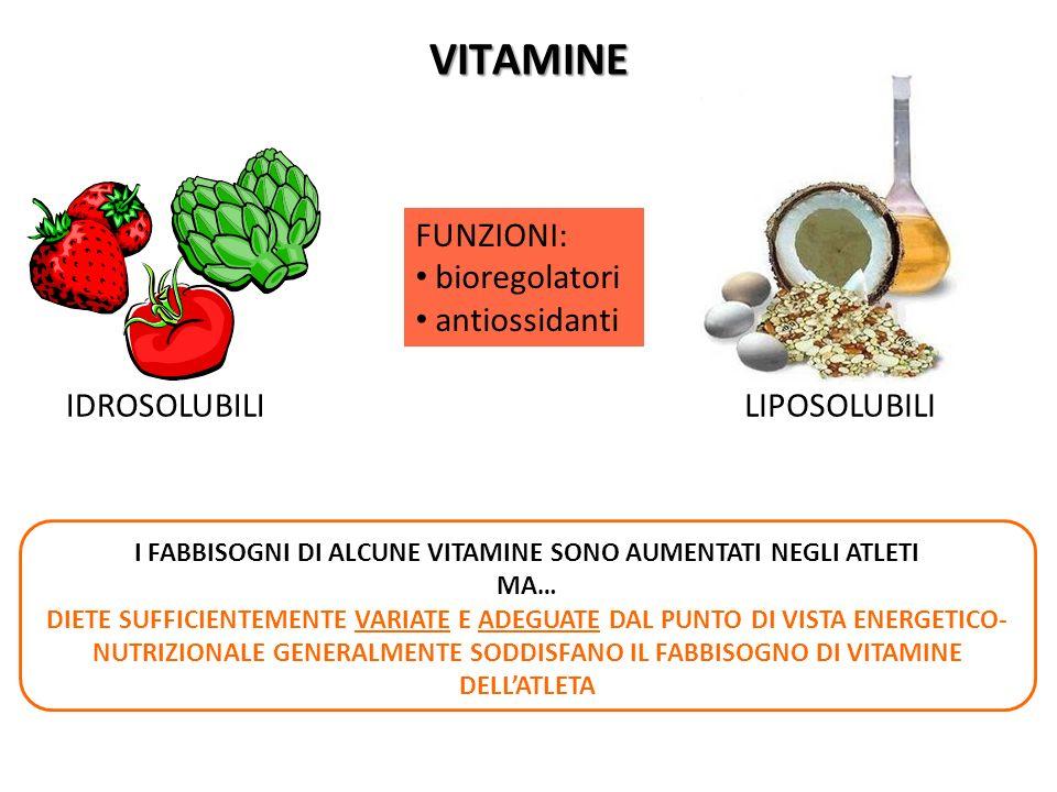 VITAMINE IDROSOLUBILI FUNZIONI: bioregolatori antiossidanti LIPOSOLUBILI I FABBISOGNI DI ALCUNE VITAMINE SONO AUMENTATI NEGLI ATLETI MA… DIETE SUFFICI