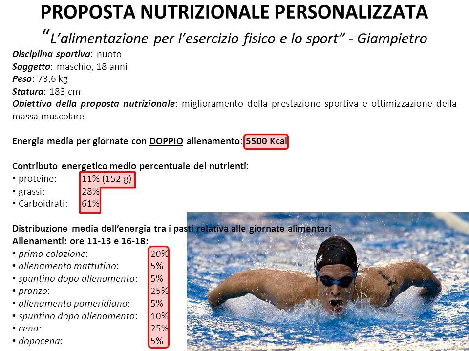 PROPOSTA NUTRIZIONALE PERSONALIZZATA Lalimentazione per lesercizio fisico e lo sport - Giampietro Disciplina sportiva: nuoto Soggetto: maschio, 18 ann