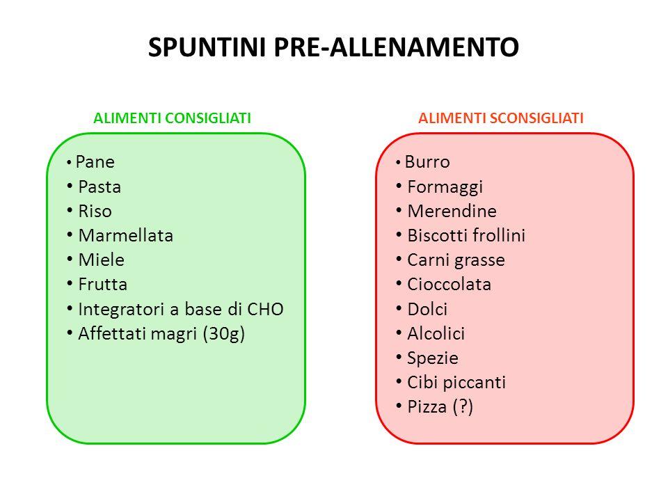 SPUNTINI PRE-ALLENAMENTO Pane Pasta Riso Marmellata Miele Frutta Integratori a base di CHO Affettati magri (30g) Burro Formaggi Merendine Biscotti fro