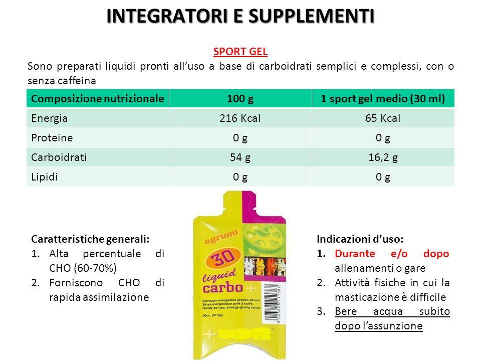 Composizione nutrizionale100 g1 sport gel medio (30 ml) Energia216 Kcal65 Kcal Proteine0 g Carboidrati54 g16,2 g Lipidi0 g Caratteristiche generali: 1