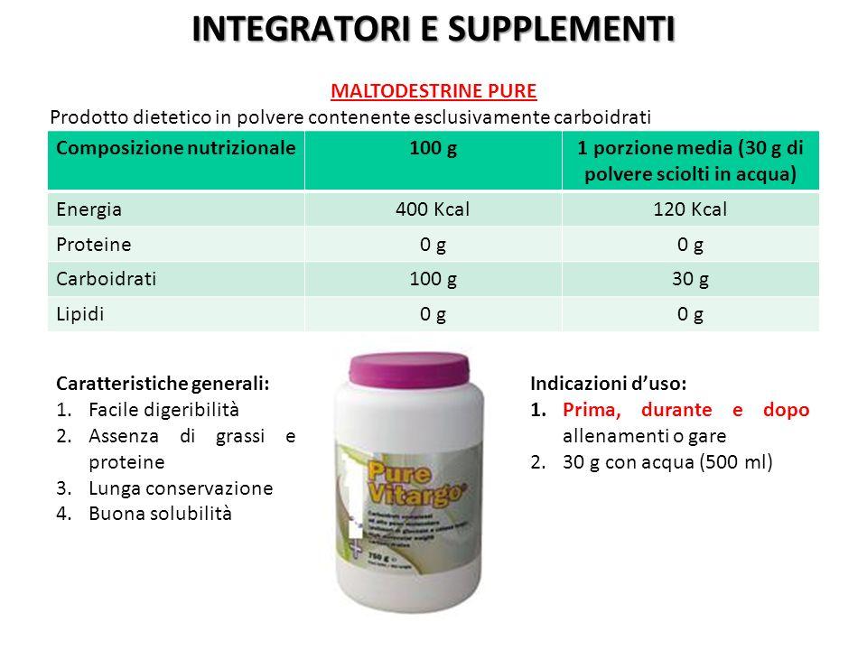 Composizione nutrizionale100 g1 porzione media (30 g di polvere sciolti in acqua) Energia400 Kcal120 Kcal Proteine0 g Carboidrati100 g30 g Lipidi0 g C