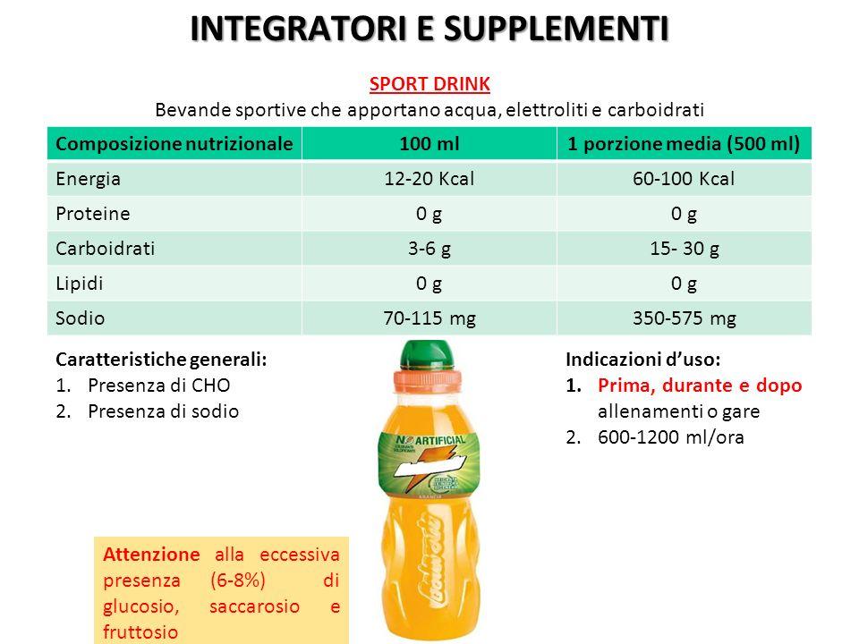 Composizione nutrizionale100 ml1 porzione media (500 ml) Energia12-20 Kcal60-100 Kcal Proteine0 g Carboidrati3-6 g15- 30 g Lipidi0 g Sodio70-115 mg350