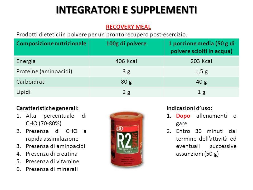 Composizione nutrizionale100g di polvere1 porzione media (50 g di polvere sciolti in acqua) Energia406 Kcal203 Kcal Proteine (aminoacidi)3 g1,5 g Carb