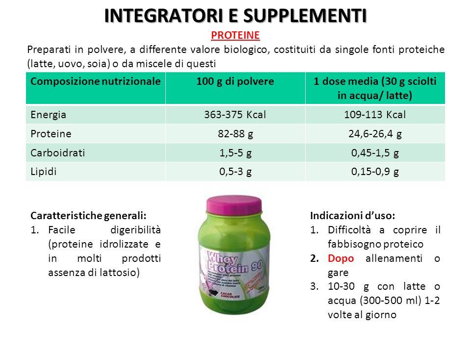 Composizione nutrizionale100 g di polvere1 dose media (30 g sciolti in acqua/ latte) Energia363-375 Kcal109-113 Kcal Proteine82-88 g24,6-26,4 g Carboi