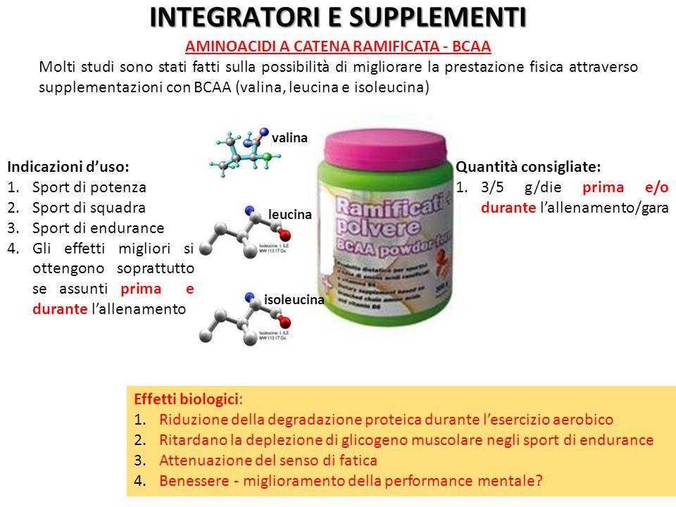 Effetti biologici: 1.Riduzione della degradazione proteica durante lesercizio aerobico 2.Ritardano la deplezione di glicogeno muscolare negli sport di