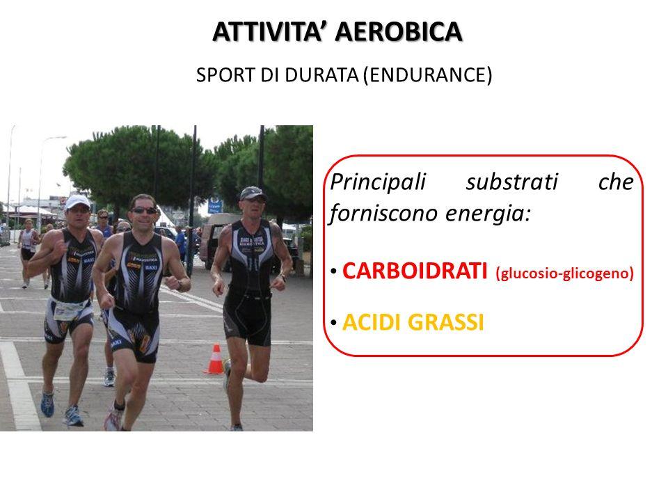 SPORT DI DURATA (ENDURANCE) ATTIVITA AEROBICA Principali substrati che forniscono energia: CARBOIDRATI (glucosio-glicogeno) ACIDI GRASSI