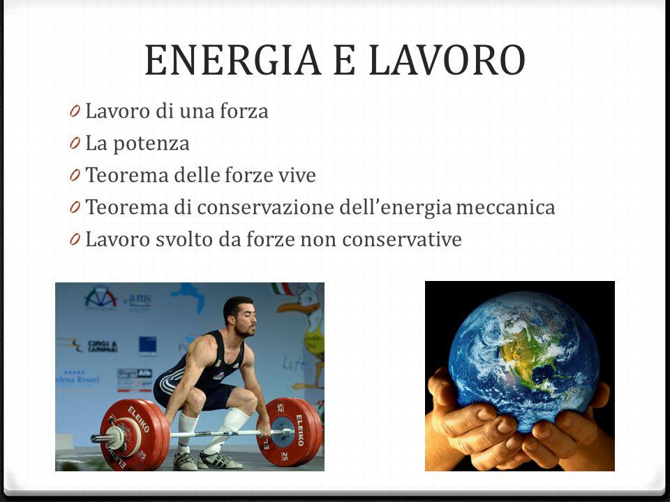 ENERGIA E LAVORO 0 Lavoro di una forza 0 La potenza 0 Teorema delle forze vive 0 Teorema di conservazione dellenergia meccanica 0 Lavoro svolto da for