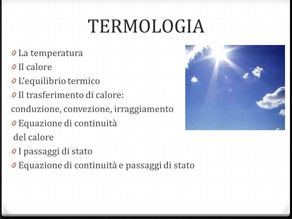 TERMOLOGIA 0 La temperatura 0 Il calore 0 Lequilibrio termico 0 Il trasferimento di calore: conduzione, convezione, irraggiamento 0 Equazione di conti