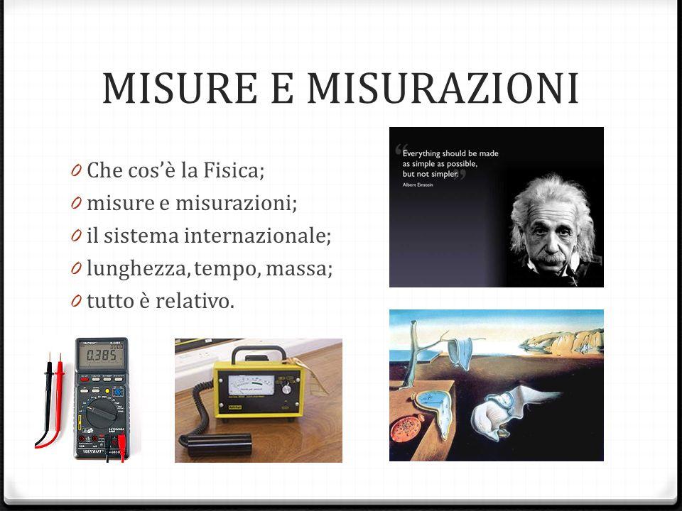 0 Che cosè la Fisica; 0 misure e misurazioni; 0 il sistema internazionale; 0 lunghezza, tempo, massa; 0 tutto è relativo. MISURE E MISURAZIONI