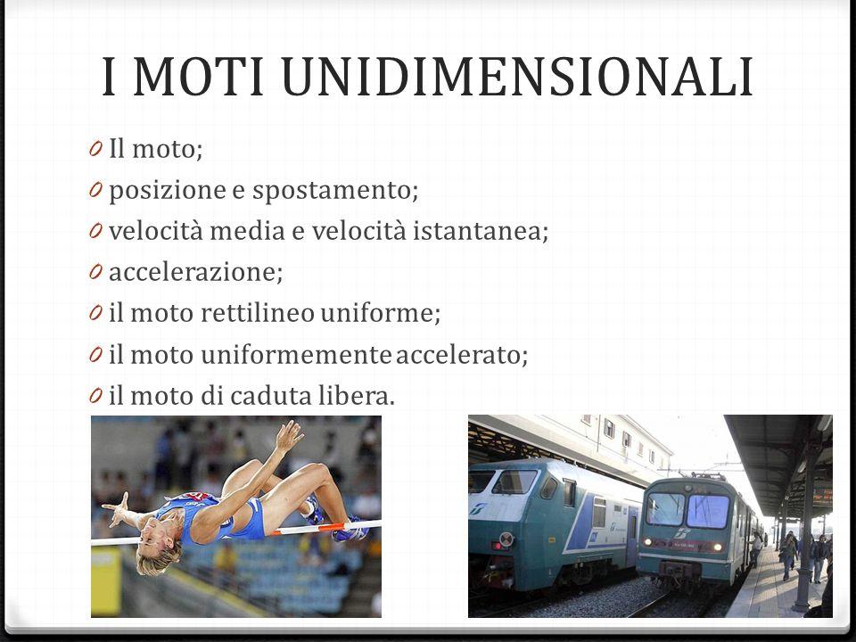 I MOTI UNIDIMENSIONALI 0 Il moto; 0 posizione e spostamento; 0 velocità media e velocità istantanea; 0 accelerazione; 0 il moto rettilineo uniforme; 0