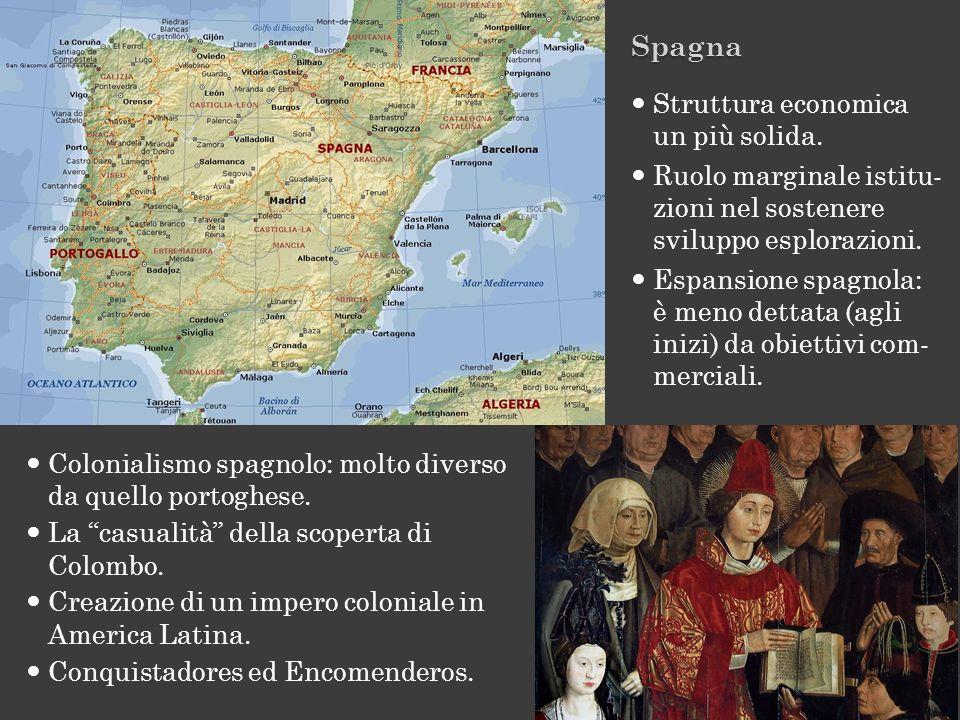 Colonialismo spagnolo: molto diverso da quello portoghese. La casualità della scoperta di Colombo. Creazione di un impero coloniale in America Latina.