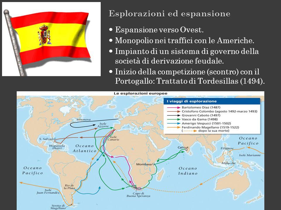 Esplorazioni ed espansione Espansione verso Ovest. Monopolio nei traffici con le Americhe. Impianto di un sistema di governo della società di derivazi