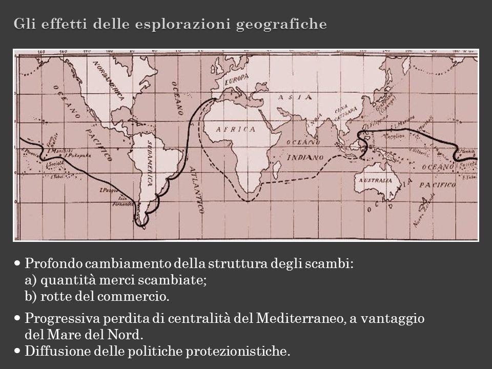 Gli effetti delle esplorazioni geografiche Profondo cambiamento della struttura degli scambi: a) quantità merci scambiate; b) rotte del commercio. Pro