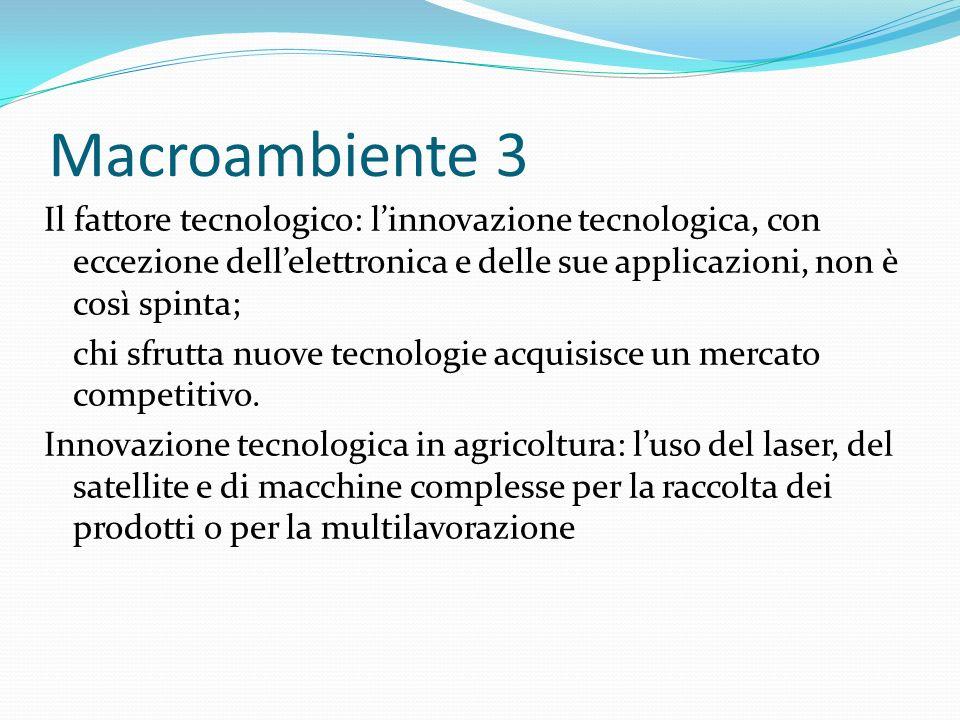 Macroambiente 3 Il fattore tecnologico: linnovazione tecnologica, con eccezione dellelettronica e delle sue applicazioni, non è così spinta; chi sfrutta nuove tecnologie acquisisce un mercato competitivo.
