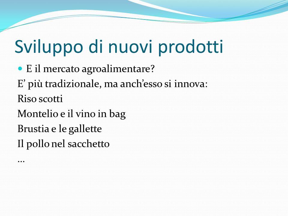 Sviluppo di nuovi prodotti E il mercato agroalimentare? E più tradizionale, ma anchesso si innova: Riso scotti Montelio e il vino in bag Brustia e le