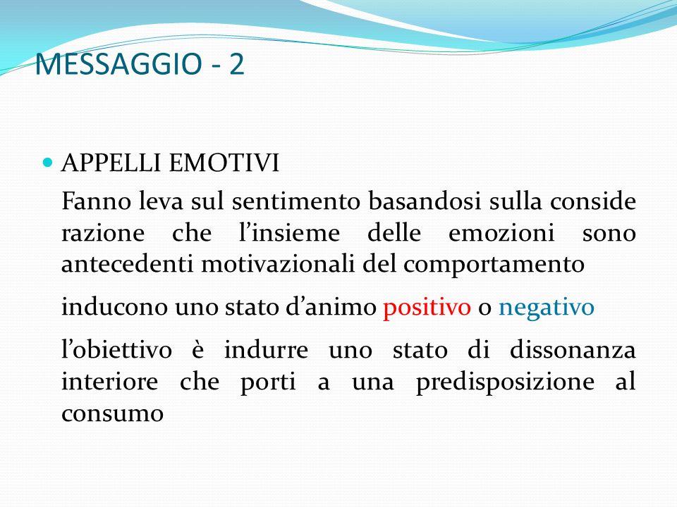 MESSAGGIO - 2 APPELLI EMOTIVI Fanno leva sul sentimento basandosi sulla conside razione che linsieme delle emozioni sono antecedenti motivazionali del comportamento inducono uno stato danimo positivo o negativo lobiettivo è indurre uno stato di dissonanza interiore che porti a una predisposizione al consumo
