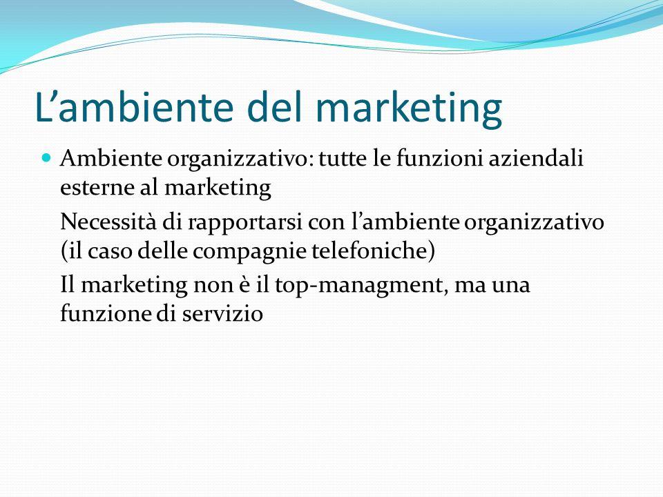 Lambiente del marketing Ambiente organizzativo: tutte le funzioni aziendali esterne al marketing Necessità di rapportarsi con lambiente organizzativo (il caso delle compagnie telefoniche) Il marketing non è il top-managment, ma una funzione di servizio