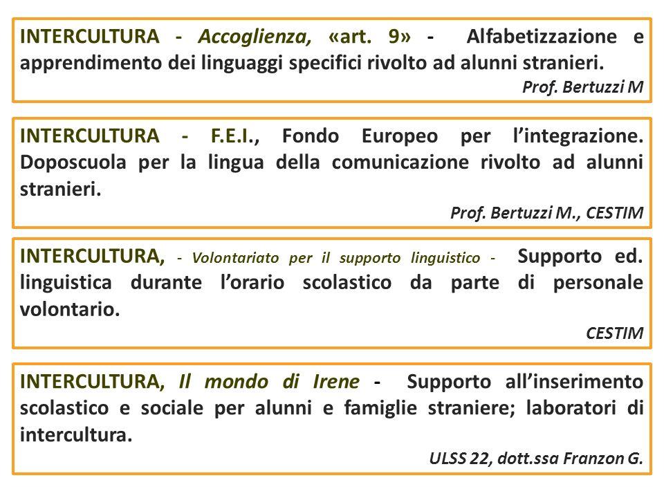INTERCULTURA - Accoglienza, «art. 9» - Alfabetizzazione e apprendimento dei linguaggi specifici rivolto ad alunni stranieri. Prof. Bertuzzi M INTERCUL
