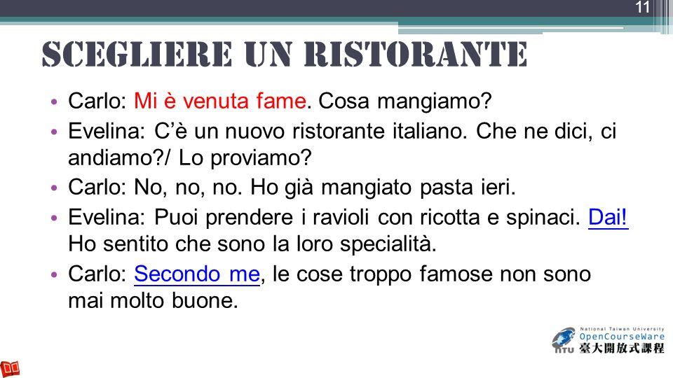 scegliere un ristorante Carlo: Mi è venuta fame. Cosa mangiamo? Evelina: Cè un nuovo ristorante italiano. Che ne dici, ci andiamo?/ Lo proviamo? Carlo