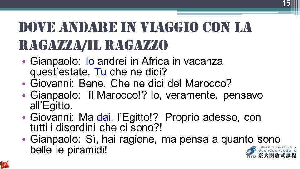 dove andare in viaggio con la ragazza/il ragazzo Gianpaolo: Io andrei in Africa in vacanza questestate. Tu che ne dici? Giovanni: Bene. Che ne dici de
