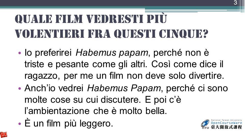 Quale film vedresti più volentieri fra questi cinque? Io preferirei Habemus papam, perché non è triste e pesante come gli altri. Così come dice il rag