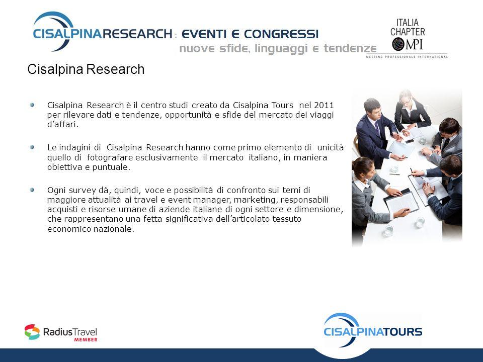 Cisalpina Research Cisalpina Research è il centro studi creato da Cisalpina Tours nel 2011 per rilevare dati e tendenze, opportunità e sfide del mercato dei viaggi daffari.