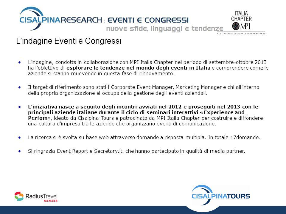 Lindagine Eventi e Congressi Lindagine, condotta in collaborazione con MPI Italia Chapter nel periodo di settembre-ottobre 2013 ha lobiettivo di esplorare le tendenze nel mondo degli eventi in Italia e comprendere come le aziende si stanno muovendo in questa fase di rinnovamento.