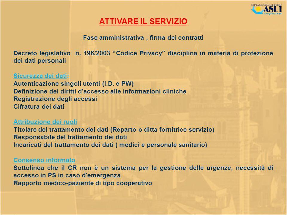 ATTIVARE IL SERVIZIO Fase amministrativa, firma dei contratti Decreto legislativo n. 196/2003 Codice Privacy disciplina in materia di protezione dei d