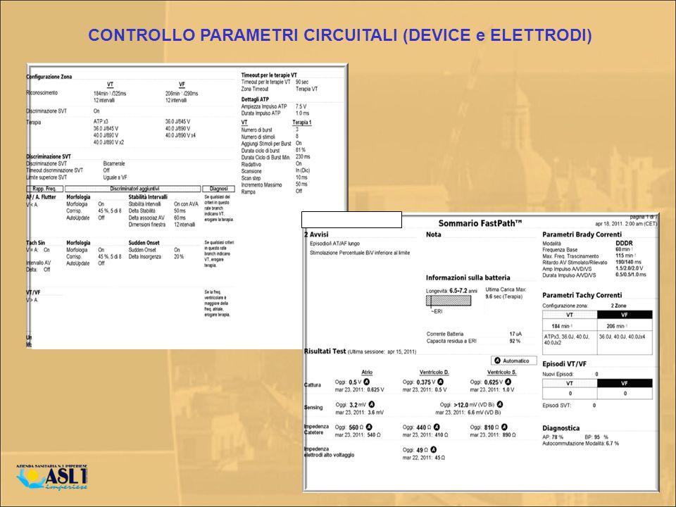 CONTROLLO PARAMETRI CIRCUITALI (DEVICE e ELETTRODI)