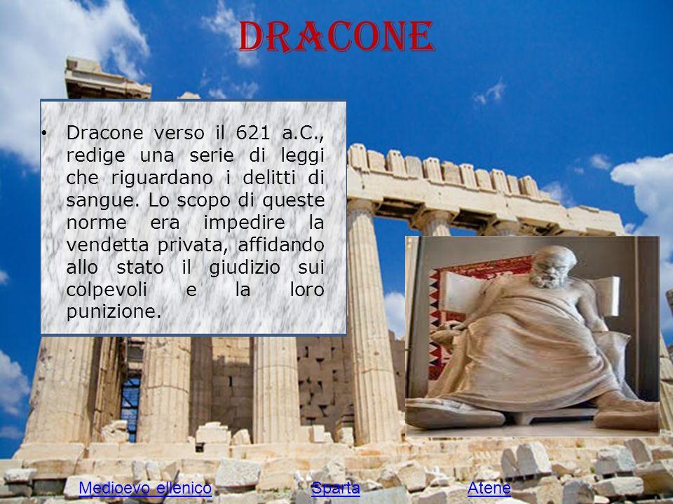 Dracone Dracone verso il 621 a.C., redige una serie di leggi che riguardano i delitti di sangue. Lo scopo di queste norme era impedire la vendetta pri